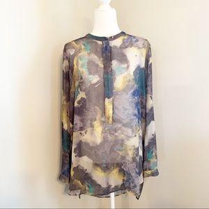 Mossimo Long Sleeve Sheer Tunic Blouse XXL